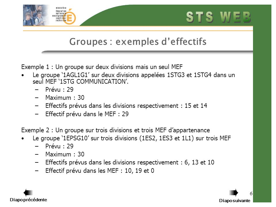 6 Groupes : exemples deffectifs Exemple 1 : Un groupe sur deux divisions mais un seul MEF Le groupe 1AGL1G1 sur deux divisions appelées 1STG3 et 1STG4 dans un seul MEF 1STG COMMUNICATION.