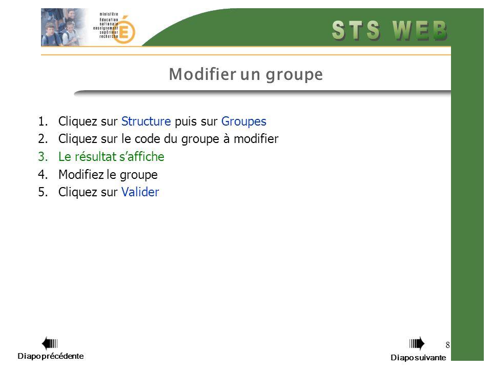 8 Modifier un groupe 1.Cliquez sur Structure puis sur Groupes 2.Cliquez sur le code du groupe à modifier 3.Le résultat saffiche 4.Modifiez le groupe 5.Cliquez sur Valider Diapo précédente Diapo suivante
