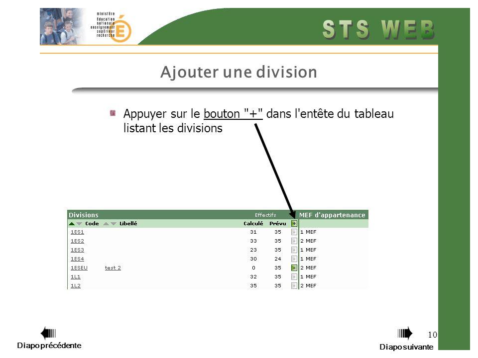10 Appuyer sur le bouton + dans l entête du tableau listant les divisions Ajouter une division Diapo précédente Diapo suivante