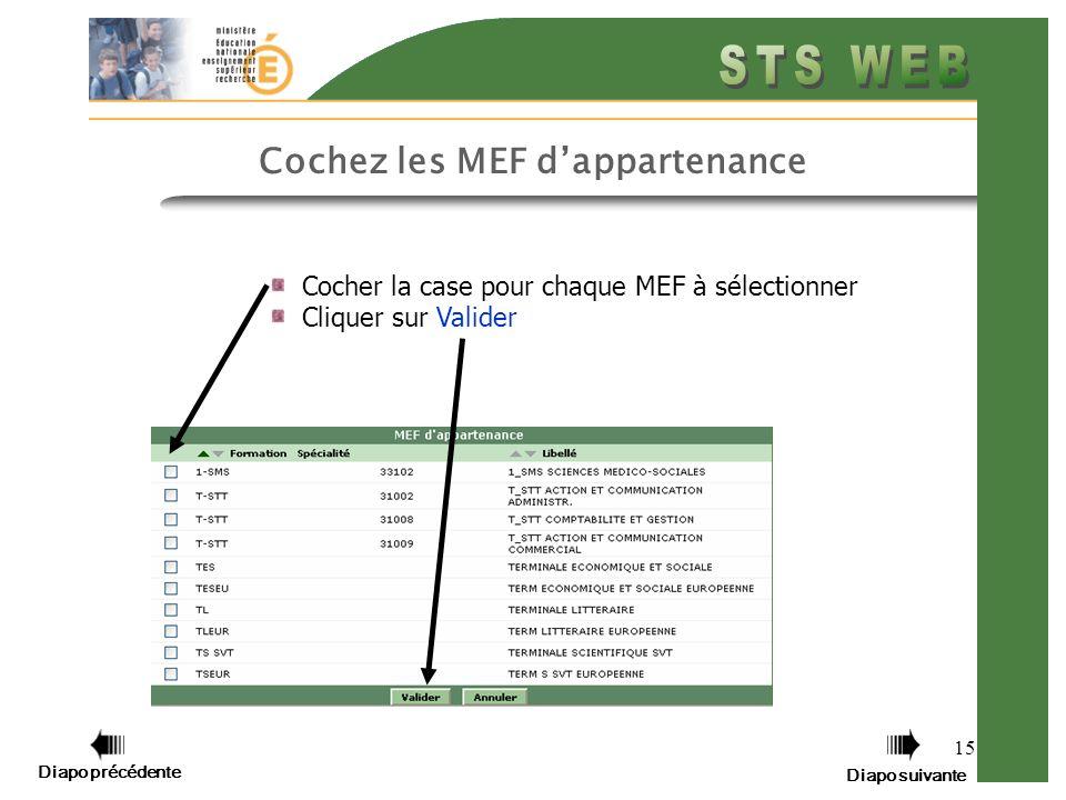 15 Cochez les MEF dappartenance Cocher la case pour chaque MEF à sélectionner Cliquer sur Valider Diapo précédente Diapo suivante