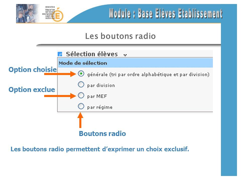Les boutons radio Les boutons radio permettent dexprimer un choix exclusif. Option choisie Boutons radio Option exclue