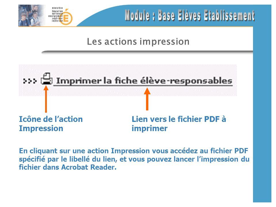 Les actions impression En cliquant sur une action Impression vous accédez au fichier PDF spécifié par le libellé du lien, et vous pouvez lancer limpre