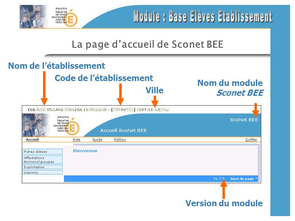 La page daccueil de Sconet BEE Nom de létablissement Version du module Nom du module Sconet BEE Code de létablissement Ville