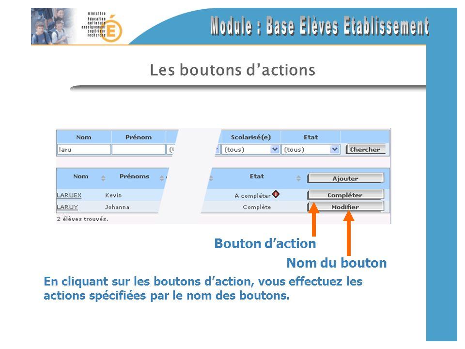Les boutons dactions En cliquant sur les boutons daction, vous effectuez les actions spécifiées par le nom des boutons. Nom du bouton Bouton daction