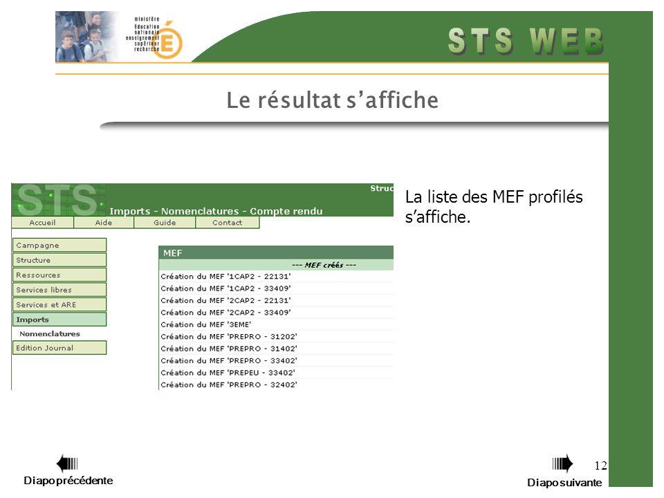 12 Le résultat saffiche La liste des MEF profilés saffiche. Diapo précédente Diapo suivante