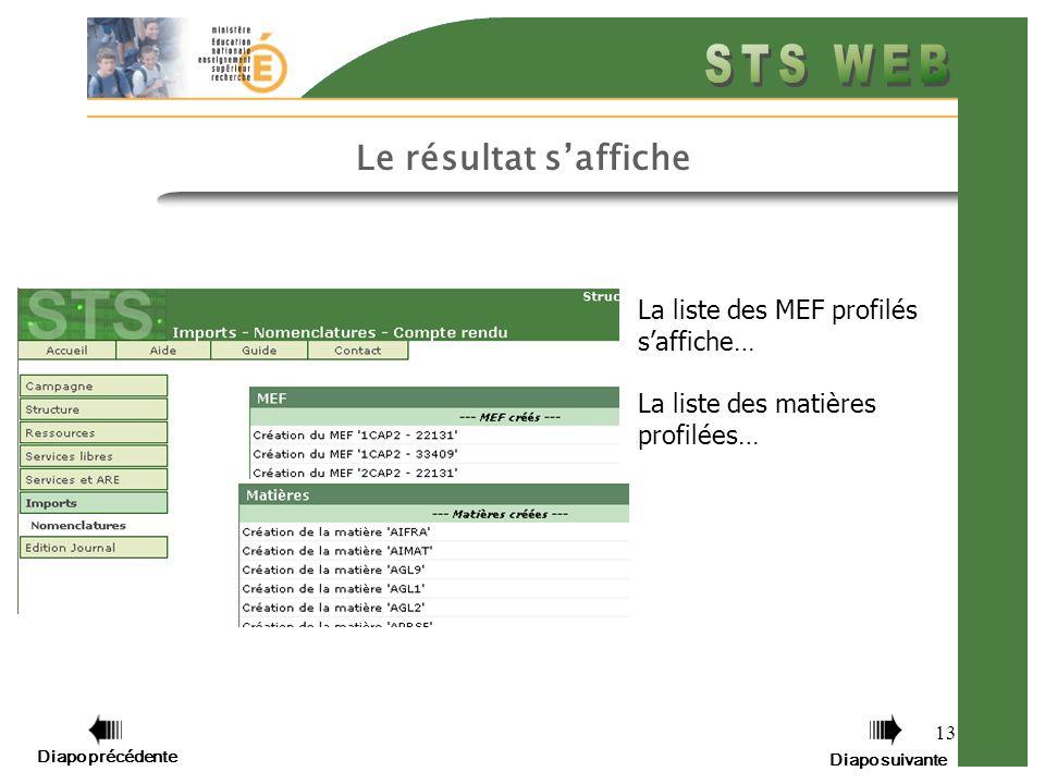 13 Le résultat saffiche La liste des MEF profilés saffiche… La liste des matières profilées… Diapo précédente Diapo suivante