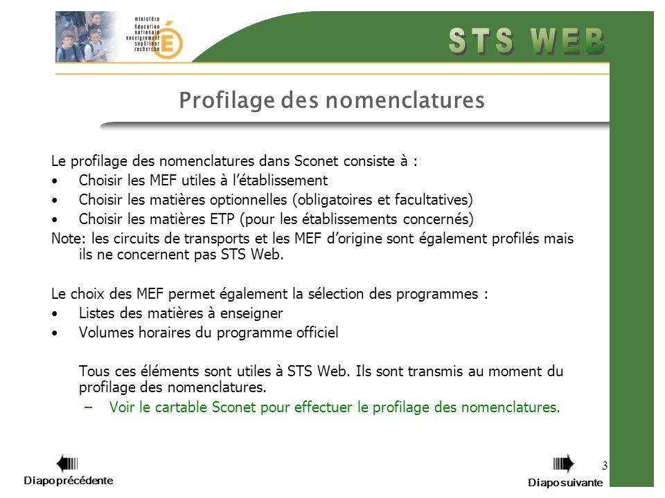 3 Profilage des nomenclatures Le profilage des nomenclatures dans Sconet consiste à : Choisir les MEF utiles à létablissement Choisir les matières opt