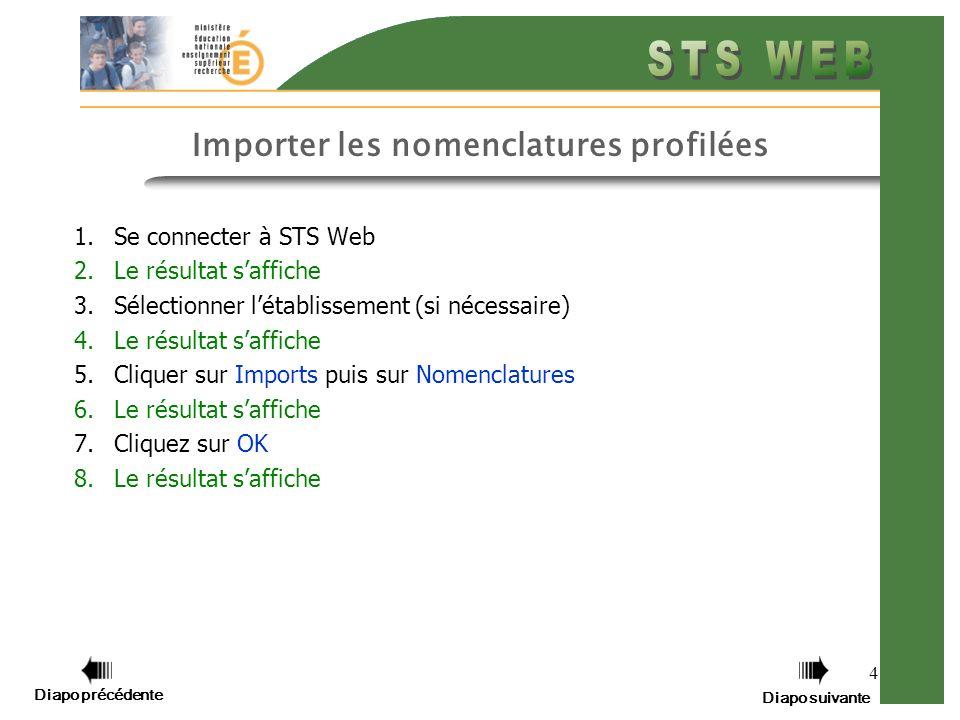 4 Importer les nomenclatures profilées 1.Se connecter à STS Web 2.Le résultat saffiche 3.Sélectionner létablissement (si nécessaire) 4.Le résultat saf
