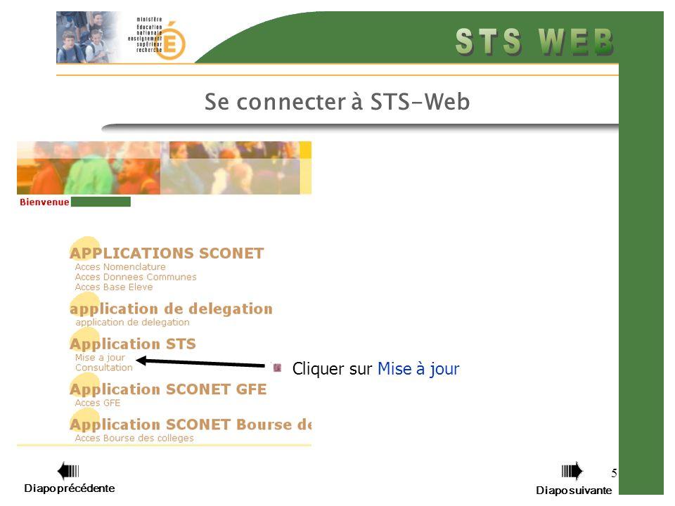 5 Cliquer sur Mise à jour Diapo précédente Diapo suivante Se connecter à STS-Web