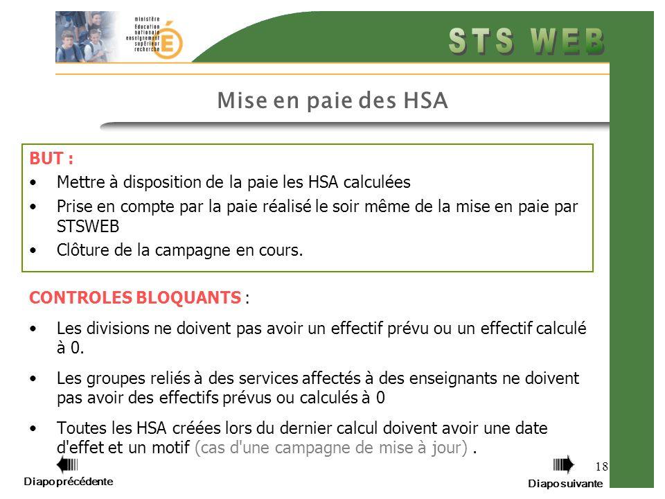Diapo précédente Diapo suivante 18 Mise en paie des HSA BUT : Mettre à disposition de la paie les HSA calculées Prise en compte par la paie réalisé le