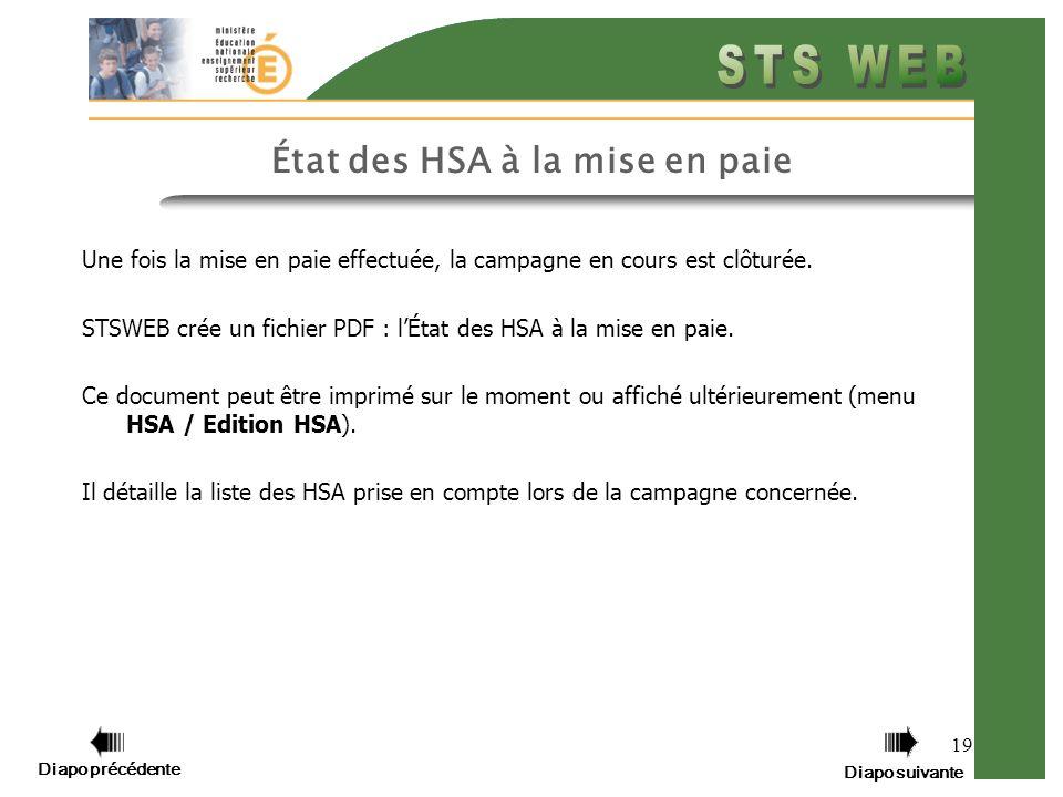 Diapo précédente Diapo suivante 19 État des HSA à la mise en paie Une fois la mise en paie effectuée, la campagne en cours est clôturée. STSWEB crée u