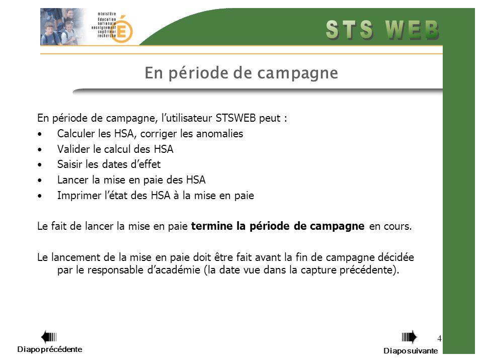 Diapo précédente Diapo suivante 4 En période de campagne En période de campagne, lutilisateur STSWEB peut : Calculer les HSA, corriger les anomalies V