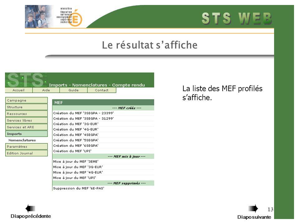 13 Le résultat saffiche La liste des MEF profilés saffiche. Diapo précédente Diapo suivante