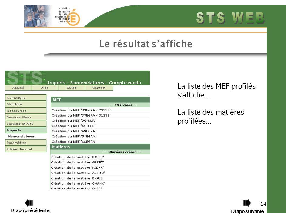 14 Le résultat saffiche La liste des MEF profilés saffiche… La liste des matières profilées… Diapo précédente Diapo suivante