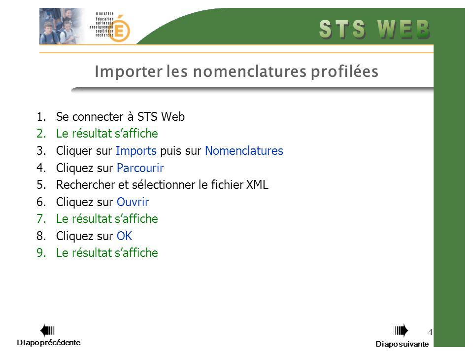 4 Importer les nomenclatures profilées 1.Se connecter à STS Web 2.Le résultat saffiche 3.Cliquer sur Imports puis sur Nomenclatures 4.Cliquez sur Parcourir 5.Rechercher et sélectionner le fichier XML 6.Cliquez sur Ouvrir 7.Le résultat saffiche 8.Cliquez sur OK 9.Le résultat saffiche Diapo précédente Diapo suivante