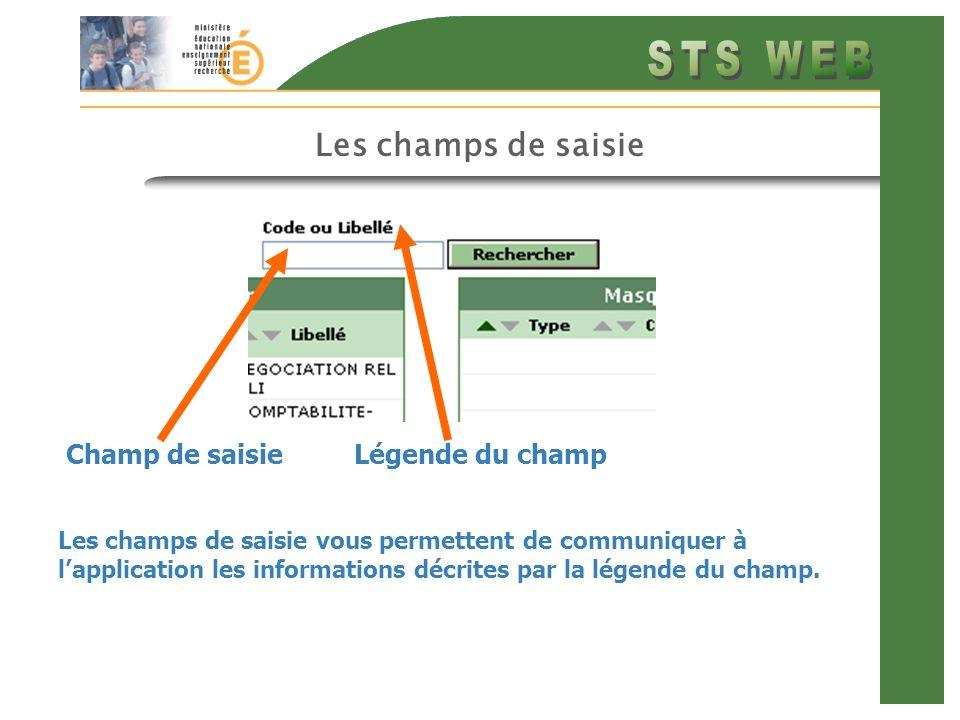 Les champs de saisie Les champs de saisie vous permettent de communiquer à lapplication les informations décrites par la légende du champ. Champ de sa