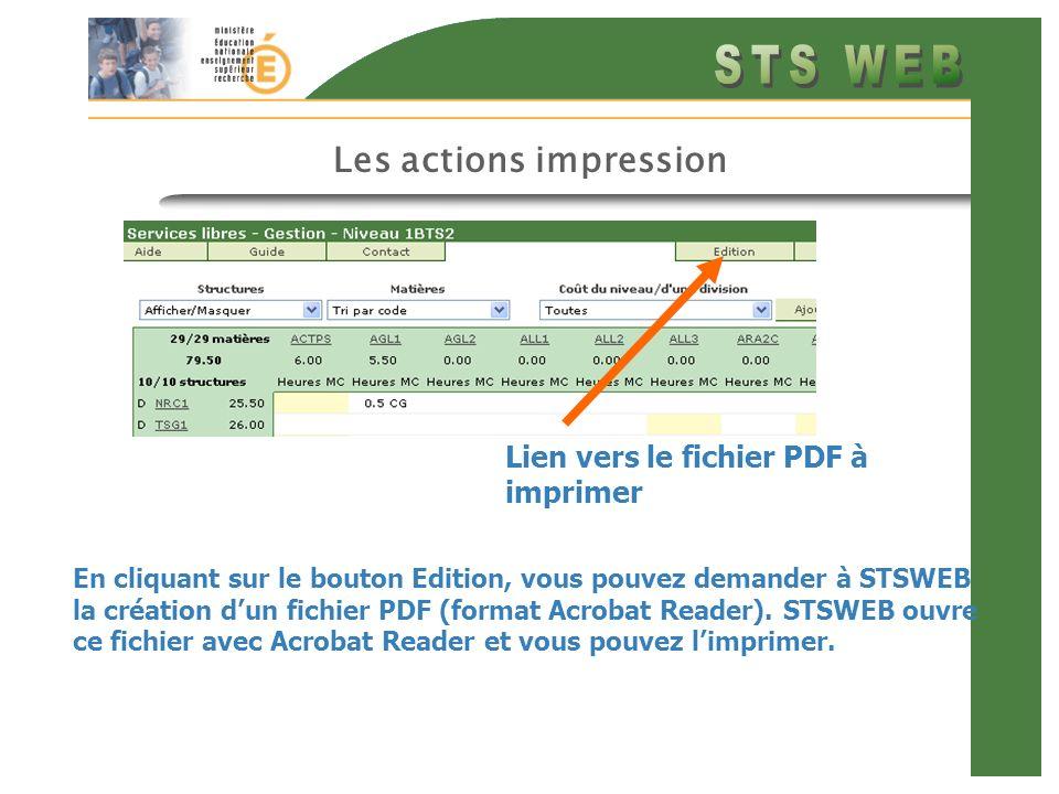Les actions impression En cliquant sur le bouton Edition, vous pouvez demander à STSWEB la création dun fichier PDF (format Acrobat Reader). STSWEB ou