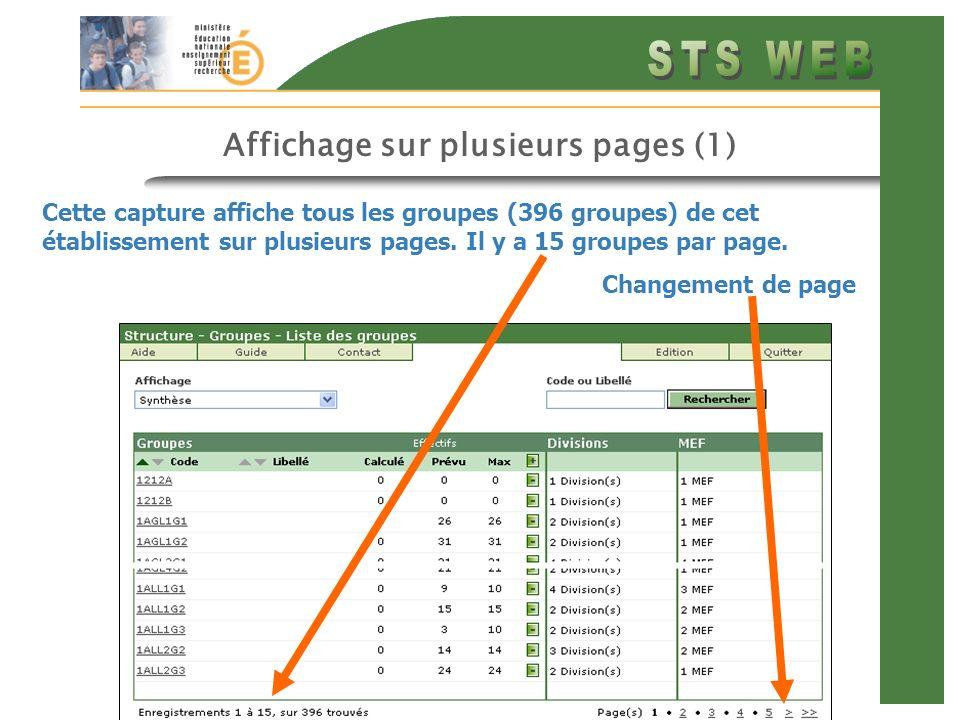 Affichage sur plusieurs pages (1) Cette capture affiche tous les groupes (396 groupes) de cet établissement sur plusieurs pages. Il y a 15 groupes par