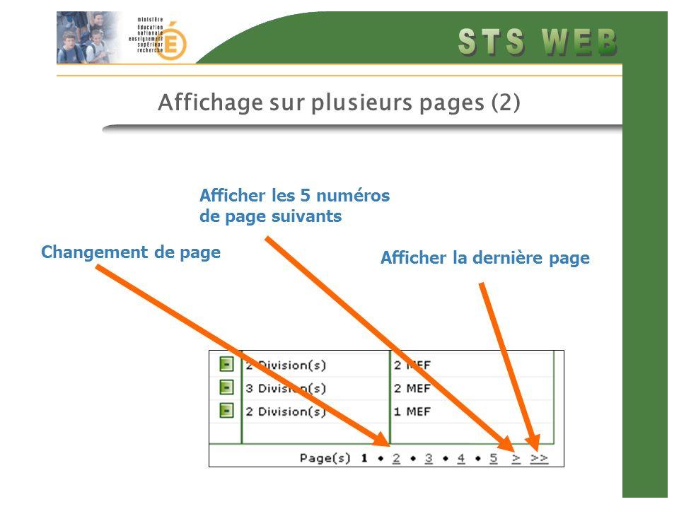 Affichage sur plusieurs pages (2) Afficher les 5 numéros de page suivants Changement de page Afficher la dernière page