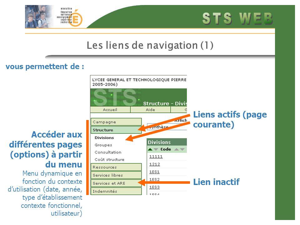 Les liens de navigation (1) vous permettent de : Accéder aux différentes pages (options) à partir du menu Menu dynamique en fonction du contexte dutilisation (date, année, type détablissement contexte fonctionnel, utilisateur) Lien inactif Liens actifs (page courante)