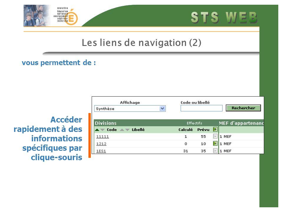 Les liens de navigation (2) vous permettent de : Accéder rapidement à des informations spécifiques par clique-souris