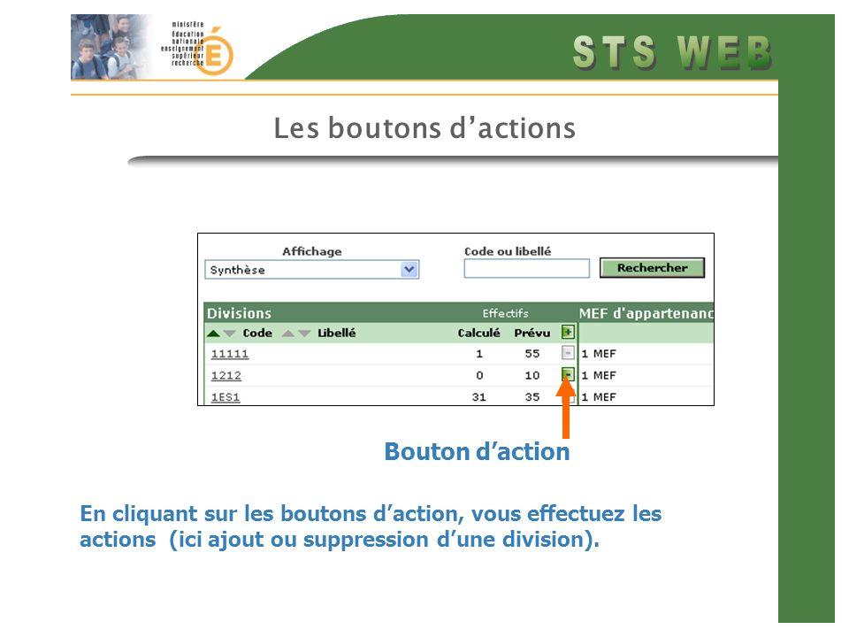 Les boutons dactions En cliquant sur les boutons daction, vous effectuez les actions (ici ajout ou suppression dune division). Bouton daction