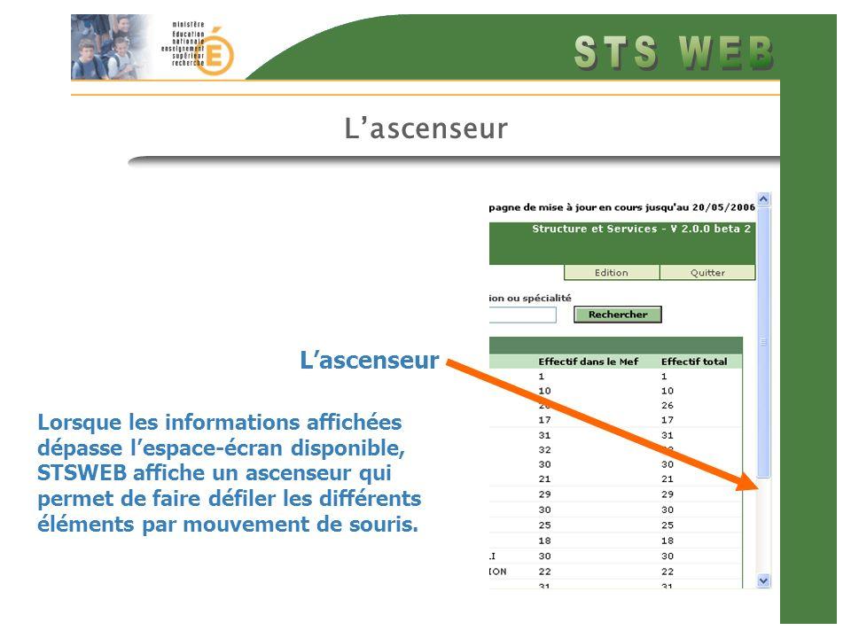 Lascenseur Lorsque les informations affichées dépasse lespace-écran disponible, STSWEB affiche un ascenseur qui permet de faire défiler les différents