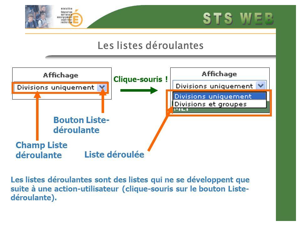 Les listes déroulantes Les listes déroulantes sont des listes qui ne se développent que suite à une action-utilisateur (clique-souris sur le bouton Liste- déroulante).