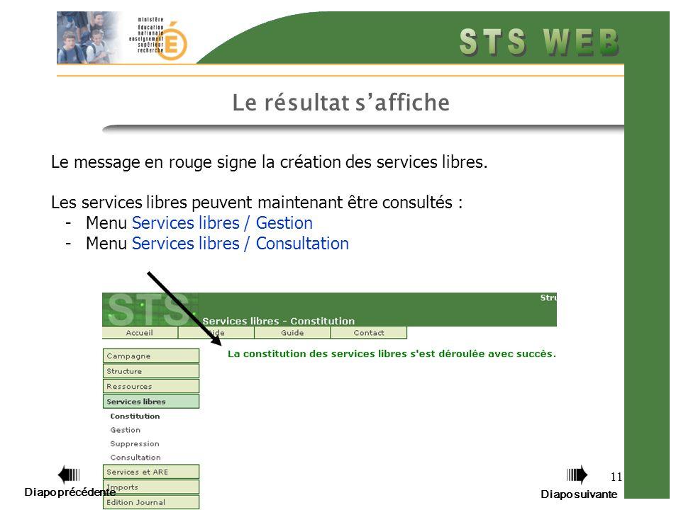 11 Le résultat saffiche Le message en rouge signe la création des services libres.