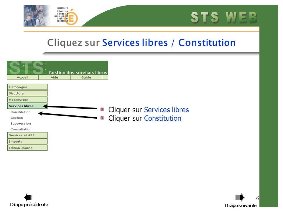 6 Cliquer sur Services libres Cliquer sur Constitution Diapo précédente Diapo suivante Cliquez sur Services libres / Constitution