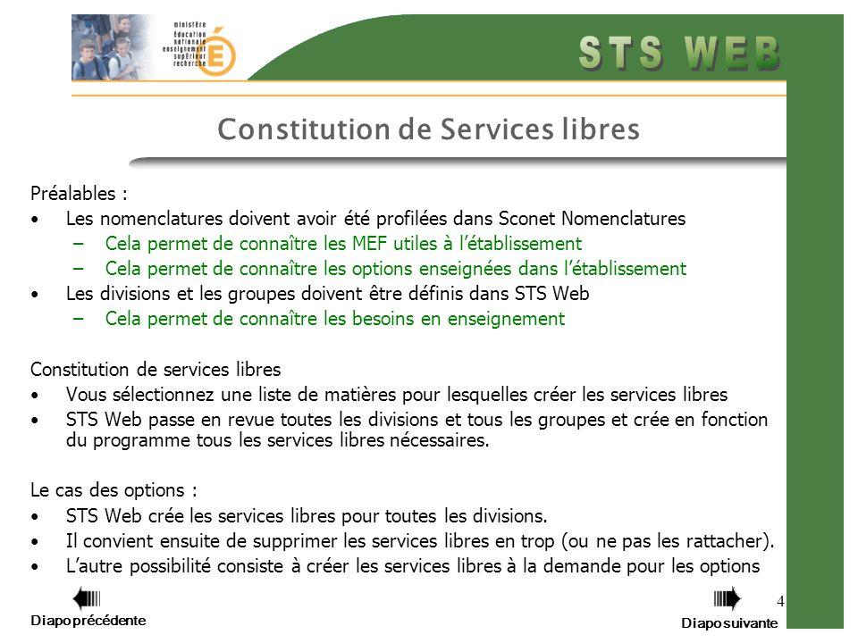 4 Constitution de Services libres Préalables : Les nomenclatures doivent avoir été profilées dans Sconet Nomenclatures –Cela permet de connaître les M