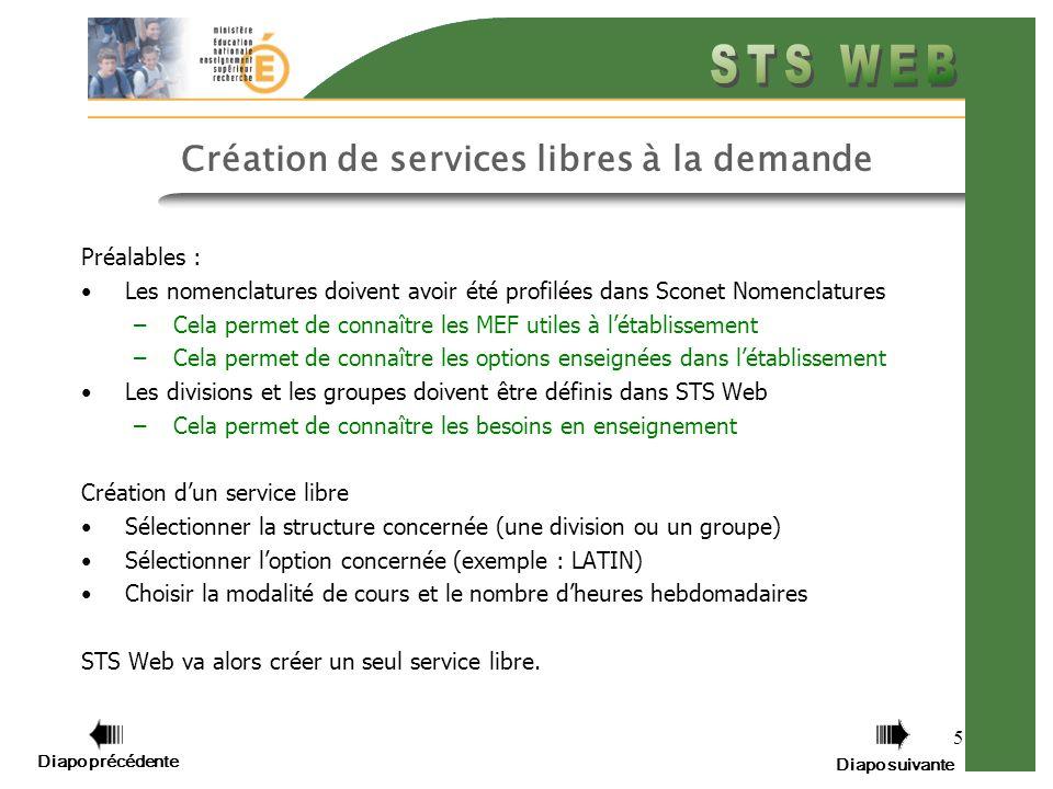 5 Création de services libres à la demande Préalables : Les nomenclatures doivent avoir été profilées dans Sconet Nomenclatures –Cela permet de connaî