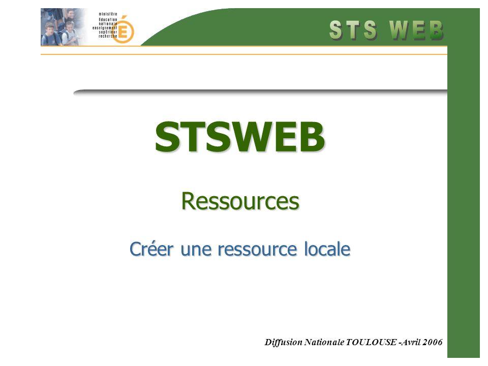 12 Le résultat saffiche Le tableau des ressources saffiche avec la nouvelle ressource locale.