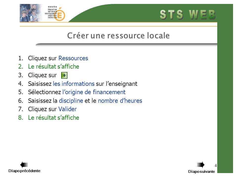 4 Créer une ressource locale 1.Cliquez sur Ressources 2.Le résultat saffiche 3.Cliquez sur 4.Saisissez les informations sur lenseignant 5.Sélectionnez lorigine de financement 6.Saisissez la discipline et le nombre dheures 7.Cliquez sur Valider 8.Le résultat saffiche Diapo précédente Diapo suivante