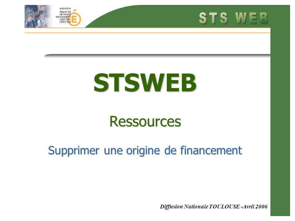 Diffusion Nationale TOULOUSE -Avril 2006 STSWEB Ressources Supprimer une origine de financement