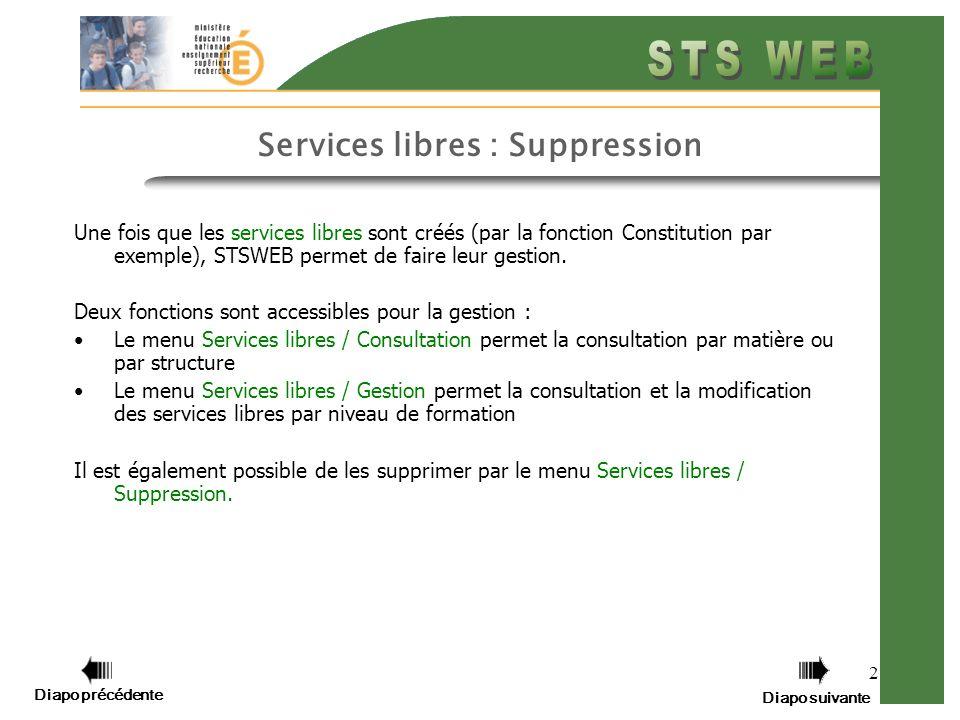 2 Services libres : Suppression Une fois que les services libres sont créés (par la fonction Constitution par exemple), STSWEB permet de faire leur gestion.