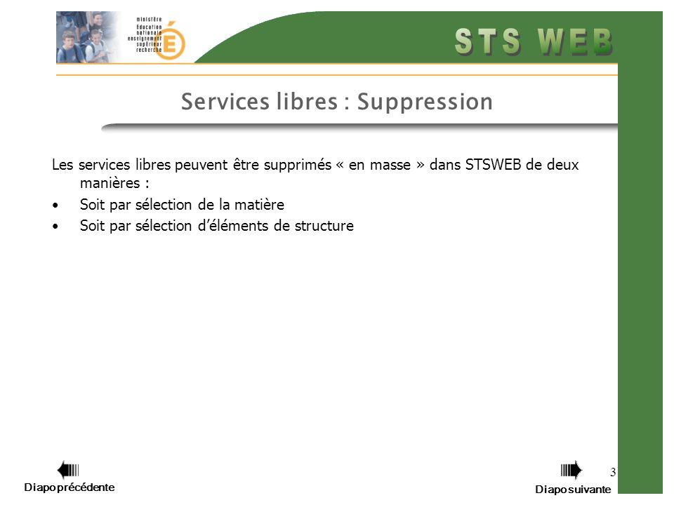 3 Services libres : Suppression Les services libres peuvent être supprimés « en masse » dans STSWEB de deux manières : Soit par sélection de la matière Soit par sélection déléments de structure Diapo précédente Diapo suivante