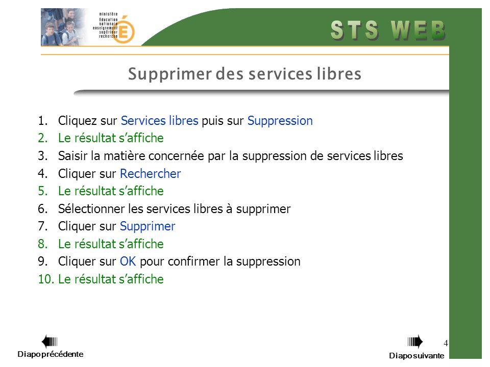 4 Supprimer des services libres 1.Cliquez sur Services libres puis sur Suppression 2.Le résultat saffiche 3.Saisir la matière concernée par la suppres