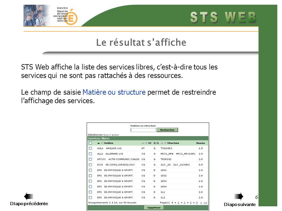 6 Le résultat saffiche STS Web affiche la liste des services libres, cest-à-dire tous les services qui ne sont pas rattachés à des ressources. Le cham