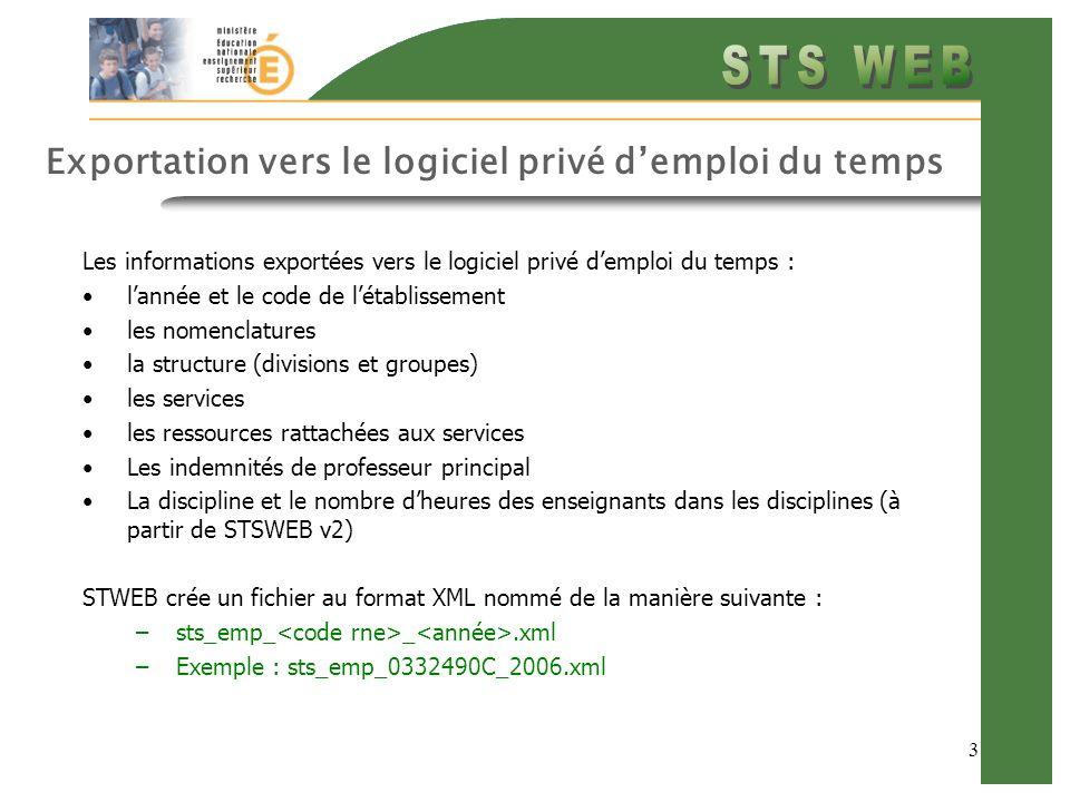 3 Exportation vers le logiciel privé demploi du temps Les informations exportées vers le logiciel privé demploi du temps : lannée et le code de létablissement les nomenclatures la structure (divisions et groupes) les services les ressources rattachées aux services Les indemnités de professeur principal La discipline et le nombre dheures des enseignants dans les disciplines (à partir de STSWEB v2) STWEB crée un fichier au format XML nommé de la manière suivante : –sts_emp_ _.xml –Exemple : sts_emp_0332490C_2006.xml