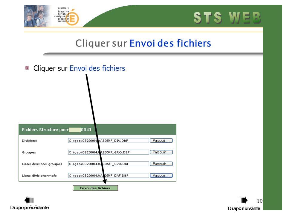 10 Cliquer sur Envoi des fichiers Diapo précédente Diapo suivante