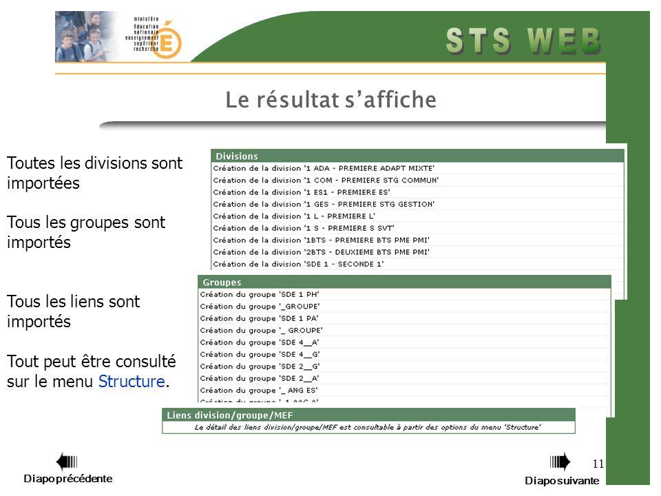 11 Le résultat saffiche Toutes les divisions sont importées Tous les groupes sont importés Tous les liens sont importés Tout peut être consulté sur le menu Structure.
