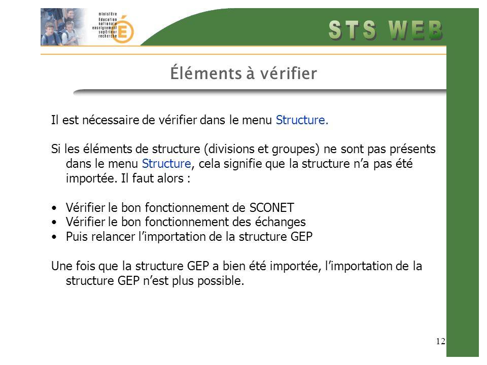 12 Éléments à vérifier Il est nécessaire de vérifier dans le menu Structure.