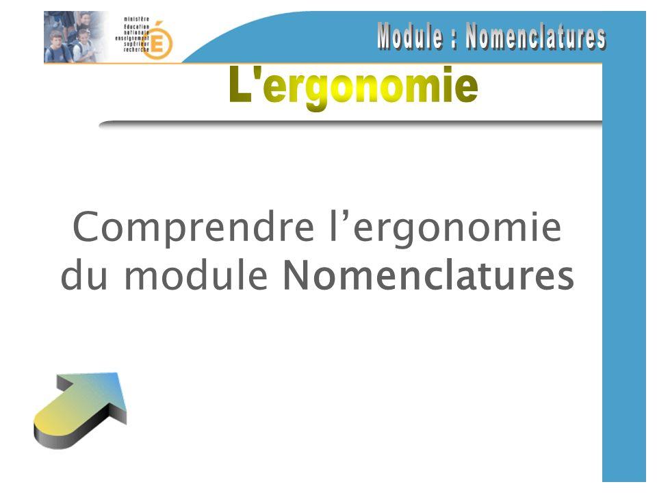 Comprendre lergonomie du module Nomenclatures