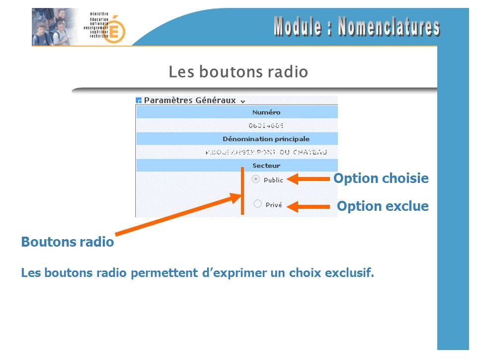 Les boutons radio Les boutons radio permettent dexprimer un choix exclusif.