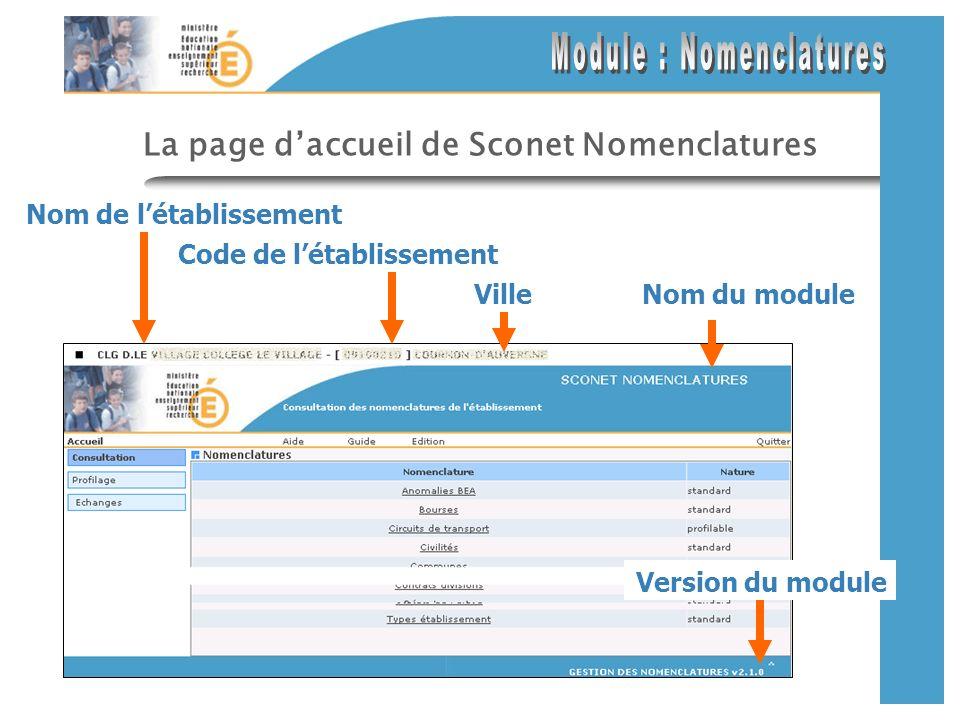 La page daccueil de Sconet Nomenclatures Nom de létablissement Version du module Nom du module Code de létablissement Ville