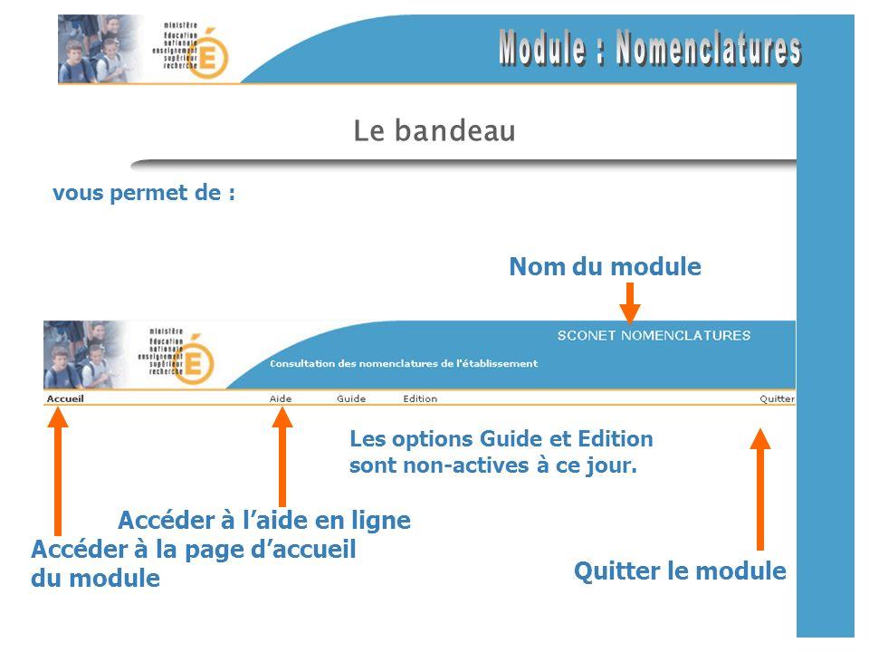 Les liens de navigation vous permettent de : Accéder aux différentes pages (options) à partir du menu Lien mis en évidence par le passage souris Lien actif (page courante) Lien inactif
