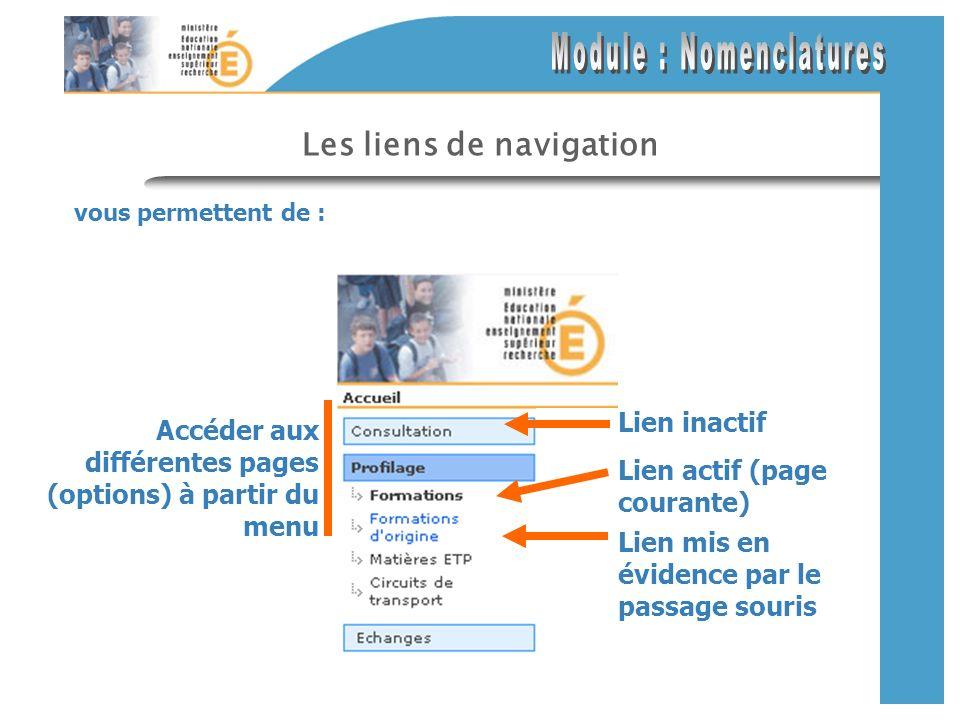 Les textes pour la navigation En cliquant sur les textes de navigation vous accédez au contenu décrit.