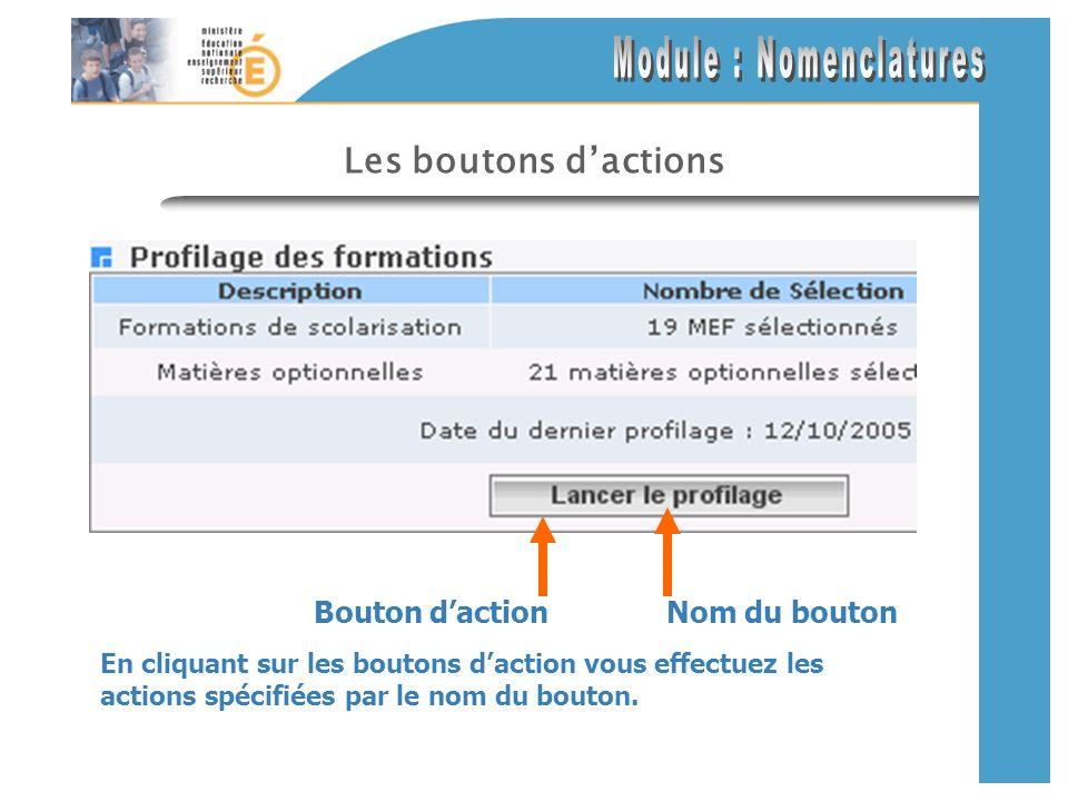 Les boutons dactions En cliquant sur les boutons daction vous effectuez les actions spécifiées par le nom du bouton.