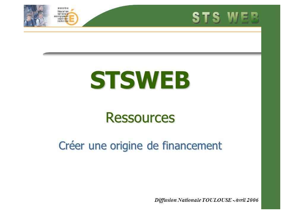 Diffusion Nationale TOULOUSE -Avril 2006 STSWEB Ressources Créer une origine de financement